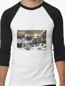 Icicles Decorate The R. B. Ricketts Waterfall Men's Baseball ¾ T-Shirt