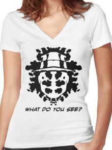 The Rorschach Test Women's Fitted V-Neck T-Shirt