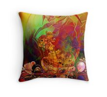Eyeball creature reflecting off polished surface Throw Pillow