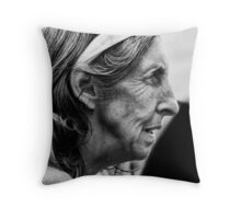woman in profile Throw Pillow