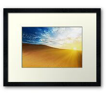Sandy desert at sunrise time. Framed Print