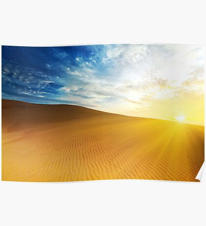 Sandy desert at sunrise time. Poster
