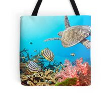 Butterflyfishes and turtle Tote Bag