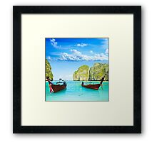 Longtail boats at Maya bay Framed Print