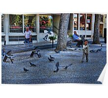 Happy kid in Tomar surrounded by pigeons Poster