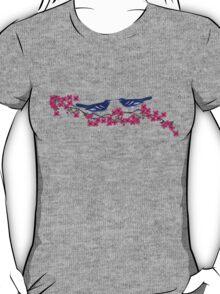 Navy Birds Cherry Blossom Fuchsia Flowers T-Shirt