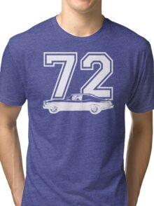 1972 Chevy Nova Side View Year Royal Blue Graphic Custom Tri-blend T-Shirt