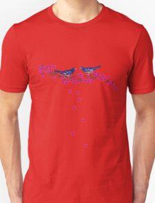 Falling Cherry Blossoms Navy Vintage Birds T-Shirt