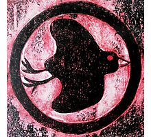 Black Bird Symbol - Cardboard Etching Photographic Print