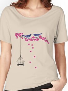 Cherry Blossom Bird Cage Women's Relaxed Fit T-Shirt