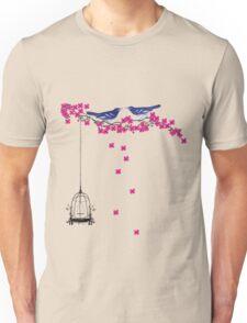 Cherry Blossom Bird Cage Unisex T-Shirt