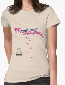 Cherry Blossom Bird Cage Womens Fitted T-Shirt