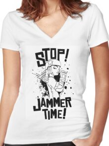 'STOP! JAMMER TIME!  Women's Fitted V-Neck T-Shirt