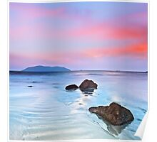 Sunrise over the sea. Stone on the foreground Poster