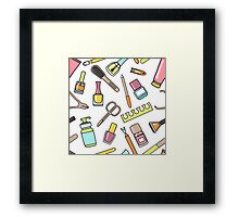 Pattern of manicure and pedicure doodle equipment. Nail art Framed Print