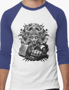 Thor Looking Dude with Hammer Men's Baseball ¾ T-Shirt