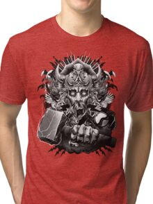 Thor Looking Dude with Hammer Tri-blend T-Shirt