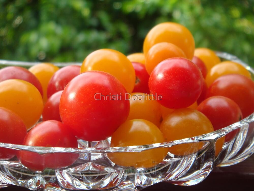 Sweet 100's tomatoes in Lead Crystal Dish by Christi Doolittle