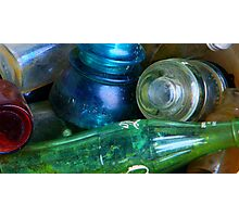 Colored Glass Bucket Photographic Print