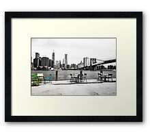 Seating at Brooklyn Bridge Park Framed Print