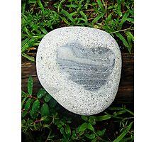 Granite Heart Rock in Wet Green Grass Photographic Print