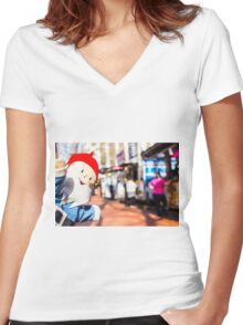 Food Truck Gnome I Women's Fitted V-Neck T-Shirt