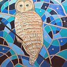 Blue Al Whimsical Owl Painting by Scott Plaster