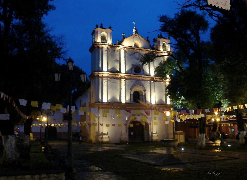 San Cristobal de las Casas- church at twilight by Shirley  Poll