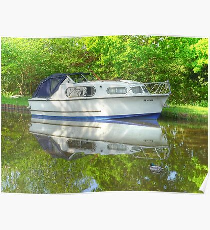"""""""Jemima & a Duck"""" - Boat on the Wey Navigation Canal Poster"""