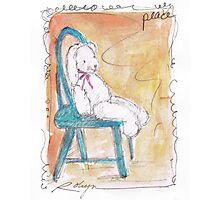 Bunny in Blue Chair Photographic Print