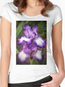 Purple And White Iris Women's Fitted Scoop T-Shirt