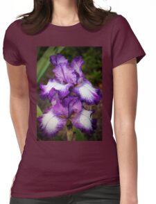 Purple And White Iris Womens Fitted T-Shirt