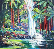 Curtis Falls with Red Palms ,Tamborine Mountain  by Virginia McGowan