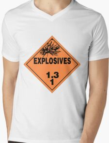 HAZMAT HAZARD EXPLOSIVES - STICKER Mens V-Neck T-Shirt