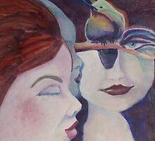 three women & hummingbird by Ellen Keagy