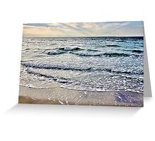 Pretty ocean waves late in the day Greeting Card