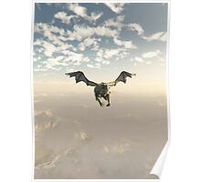 Green Dragon Flying over the Mountains Poster