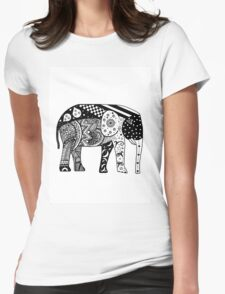Elephant Pattern Womens Fitted T-Shirt