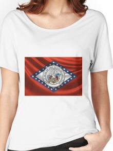 Arkansas Great Seal over State Flag Women's Relaxed Fit T-Shirt