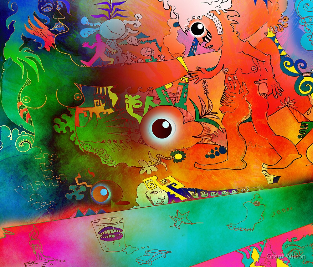 Colourful Mural illustration.. by Grant Wilson