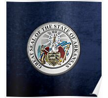 Arkansas State Seal over Blue Velvet Poster
