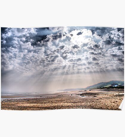 Heavenly Rays at Sandsend Beach Poster
