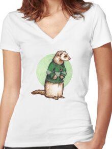 Little Slytherin Ferret Draco Malfoy Women's Fitted V-Neck T-Shirt