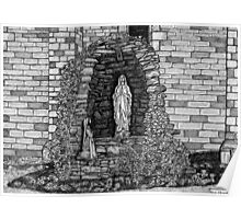 202 - LOURDES GROTTO, ST WILFRID'S CHURCH, BLYTH - DAVE EDWARDS - INK - 1997 Poster