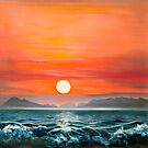 Sunset in Barra- oil painting of a romantic couple on the beach in Mexico by James  Knowles