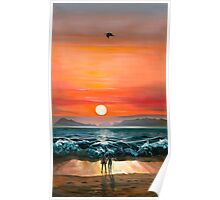 Sunset in Barra- oil painting of a romantic couple on the beach in Mexico Poster