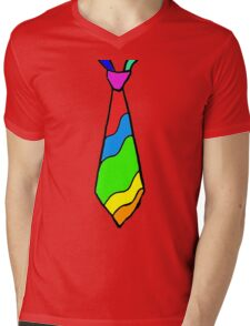 Rainbow Tie Mens V-Neck T-Shirt