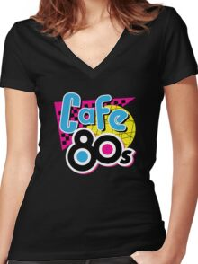 Cafe 80s Women's Fitted V-Neck T-Shirt