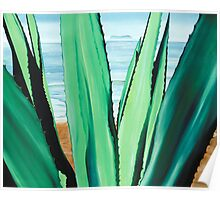 Agave de la Mar - oil painting of cactus growing on a mexican beach Poster