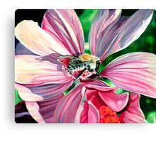 Buzzy Work - oil painting of a busy bee at work Canvas Print